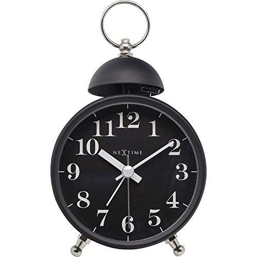 NeXtime Alarm Clock Single Bell, Very Silent, Metal, Black, 16 x 9,2 cm