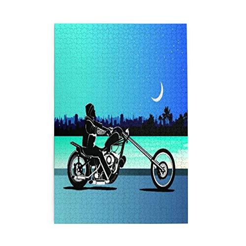 Rompecabezas decorativo de impresión UV incluido 1000 piezas de madera, arte con Chopper motocicleta motorista montar cielo estrellado cielo nocturno paisaje urbano silueta, regalo de la familia