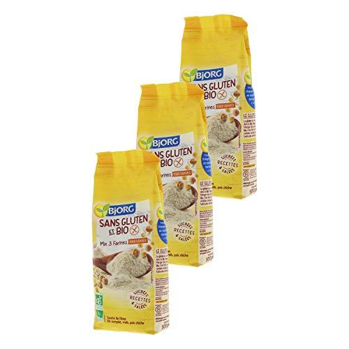 Bjorg Mix 3 Farines Sans gluten et Bio - Tous usages - 500 g - Lot de 3