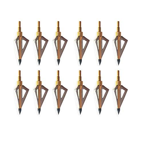 3Z Archery 12 Piezas Tiro con Arco Punta de Flecha Caza 100 Grado Deportes al Aire Libre Objetivo Práctica Tiro Tiro Compuesto y Ballesta de Oro