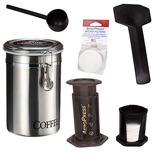AeroPress Coffee and Espresso Maker with Brushed Stainless Steel Coffee Canister and 350 Additional Filters - Quickly Makes Delicious Coffee Without Bitterness - 1 to 3 Cups Per Press