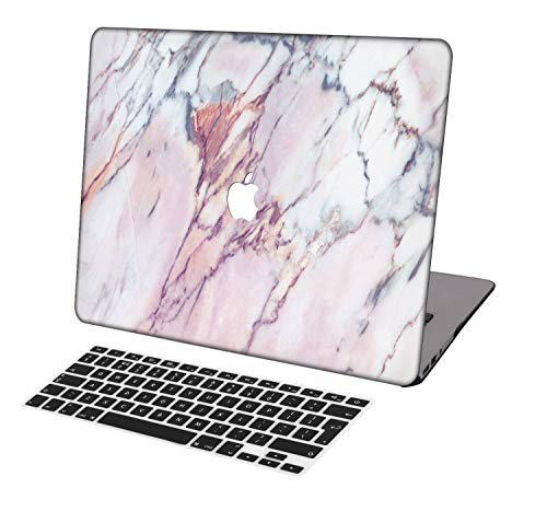 Laptop Case for MacBook Air 13 inch Model A1932,Neo-wows(2 in 1 Bundle) Plastic Ultra Slim Light Hard Shell Cover UK Keyboard Cover Compatible MacBook Air 13 inch 2018 Release,Marble A 308