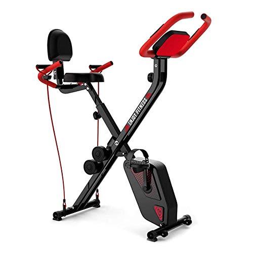 Ejercicio bicicleta estática plegable, magnético ejercicio máquina de la bici con ajustable Pulse Resistance, LCD monitor, brazo con bandas de resistencia, pesas, for Cardio Fitness Workout bicicletas