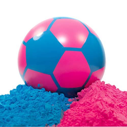 Gender Reveal Soccer Ball + Gender Reveal Banner + X32 Gender Reveal Stickers + Powder Pink and Blue | Gender Reveal Party Supplies | Non Transparent | Soccer Ball Gender Reveal