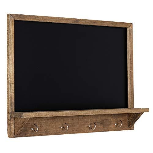 Navaris Tablero de pared para notas - Pizarra organizadora para apuntar actividades con estante y ganchos - Tabla con marco de madera vintage - Negro