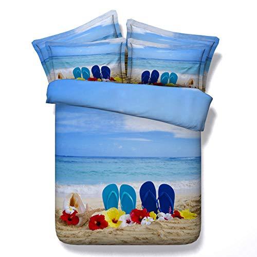 WSNALGQ Juego de Funda de edredón Ropa de Cama 3 Piezas Zapatillas de Playa Blue Sky poliéster Funda de edredón y Funda de Almohada Impresa en 3D 200x200cm