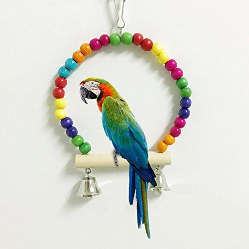 Crewell Pet Bird Parrot Swing Holz Bunten Perlen Sittich Wellensittich Käfig für Nymphensittiche Zum Aufhängen Spielzeug für Sittiche Nymphensittiche Sittiche Kakadu Ara Käfig Sitzstange