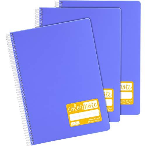 Grafoplás 98527364. Pack de 3 Cuadernos Escolares A4, Pauta 2,5mm, Tapas Polipropileno, Color Lavanda, Serie Color Note