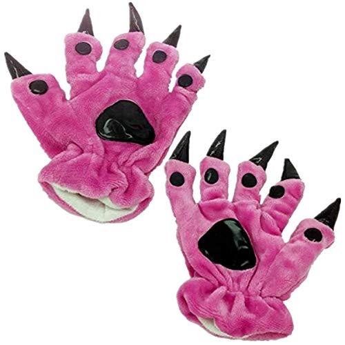 Guantes de mano para cosplay con diseño de pata de animal y garra de gato, unisex, de peluche, color rojo