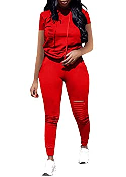 Women Casual 2 Piece Sport Outfits Short Sleeve Ripped Hole Pullover Hoodie Sweatpants Set Jumpsuits  Red L