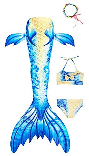 Tooplab 3 PCS Coda da Sirena Ragazza Costume da Bagno Bikini Coda da Sirena Bambina per Nuotare Invia ghirlande,Coda da Sirena Bambino.