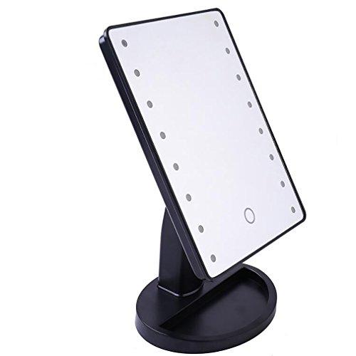 Miroir De Maquillage Miroir Cosmétique Lampe De Portable LED Réglable Miroir De Table De Comptoir,Black