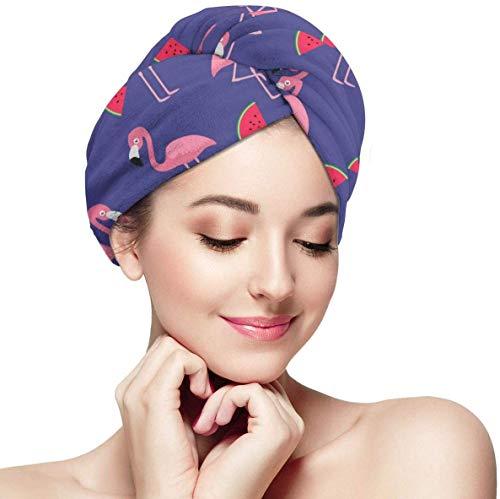 Turbante de Microfibra súper Absorbente para el Cabello con diseño de botón y Flamenco y sandía,Turbante para secar el Cabello Mojado para Mujeres y niñas