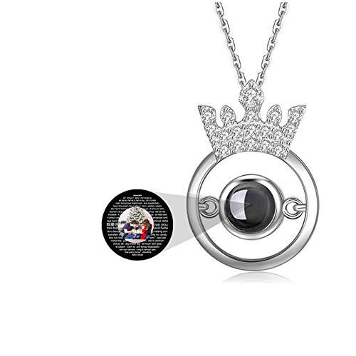 Collar de proyección Colgante de corona Collar de 100 idiomas Collar de foto personalizado TE AMO Collar de promesa de memoria(Plata a todo color 22)