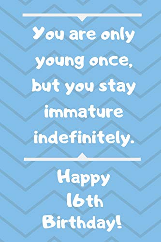 You are only young once, but you stay immature indefinitely. Happy 16th Birthday!: You are only young once, but you stay immature indefinitely. 16th ... Appreciation Gift (6 x 9 - 110 Blank Lined Pa