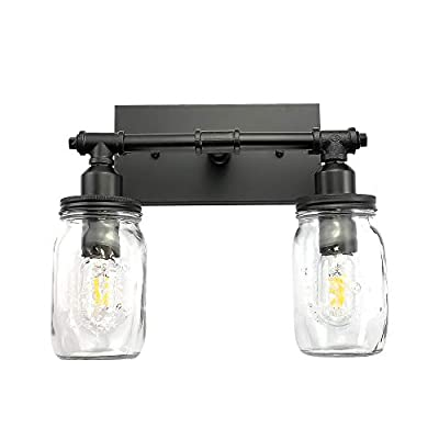 LMSOD Bathroom Wall Light Fixtures, Industrial Mason Jar Vanity Light, Wall Sconce with Black Finish (2 Lights)