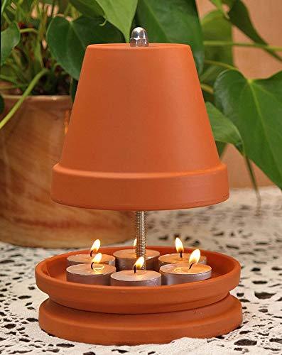 Bonn-Design ▀ Teelichtofen ▀ für bis zu 6 Teelichter Teelichtheizung Teelichtkamin bemalbar Kerzenofen Tischkamin Mückenschutz Garten Terrasse bekannt aus Stern TV Duft Kerzen Heizung Wohnzimmer Ofen