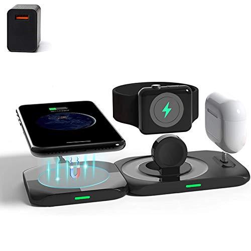 Cargador inalámbrico, estación de carga inalámbrica 4 en 1 para Apple Watch Series 6/5/4/3/2, almohadilla de carga inalámbrica rápida para iPhone 12 / Pro / Pro Max / Mini / Airpods Pro / 2 / Samsung