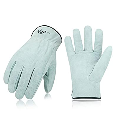Vgo Unlined Cowhide Split Leather Work and Driver Gloves, For Heavy Duty/Truck Driving/Warehouse/Gardening/Farm(1Pair,Raw White,CB9501)