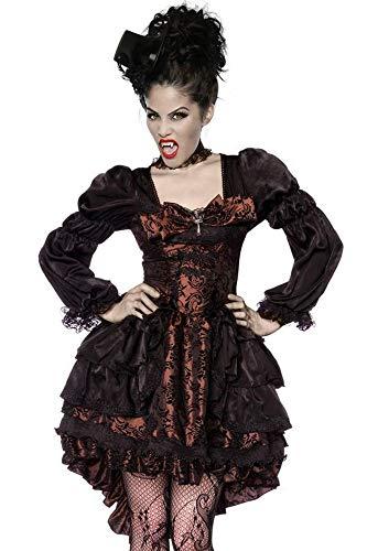 Atixo Sexy Disfraz de VAMPIRESA Fangtasia Disfraz de Drácula para Halloween Gothic Braun/Schwarz L
