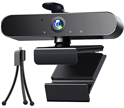 Webcam 2K HD Streaming Camera with Microphone USB PC Computer Web Camera with Light Correction AutoFocus Tripod for Zoom Skype Facetime Teams, PC Mac Laptop Desktop
