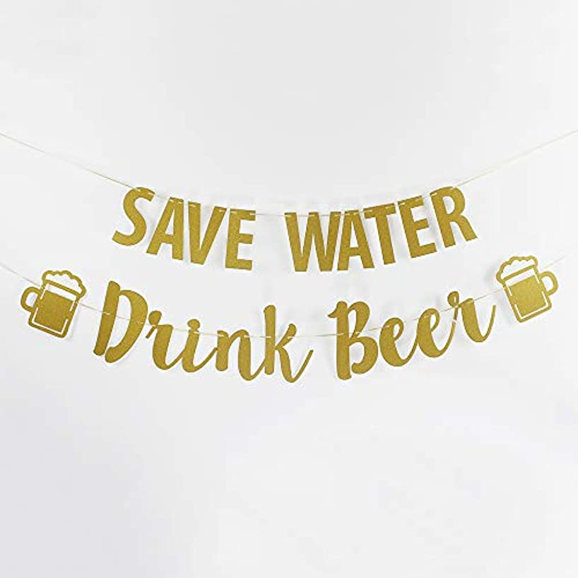 Save Water Drink Beer Banner Wedding Bubbly Bar Mimosa Bar Sign Kitchen Wine Bar Room Bachelorette Bridal Shower Anniversary Celebration Activities Party Decoration