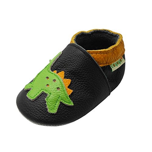 SAYOYO Baby Dinosaurs Soft Sole Leather Infant and Toddler Shoes (Black,6-12 Months)