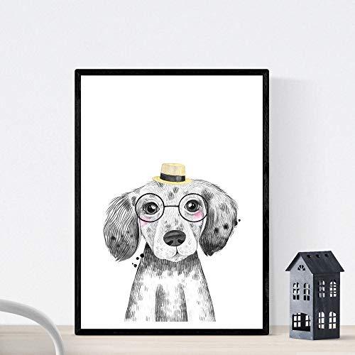 Bladehond voor kinderen met hoed en zonnebril baby, peuterdieren poster A3-formaat Unframed
