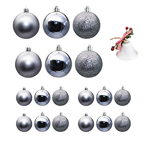 Wenjuan 18pcs Christmas Balls Ornaments Party Xmas Tree Decorations Hanging Ornament,Shatterproof Plastic Christmas Decoration Xms Balls Baubles Set with 1 Bell