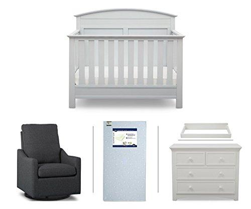 Serta Ashland 5-Piece Nursery Furniture Set (Serta Convertible Crib, 4-Drawer Dresser, Changing Top, Serta Crib Mattress, Glider), White/Charcoal