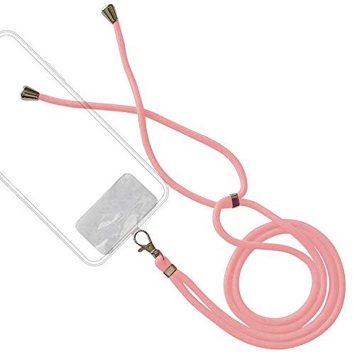BEISK Cuerda para Colgar Moviles, Correa Colgante Teléfonos para Llevar al Cuello, Sujeción Móvil Gancho Metálico con Plástico Muy Resistente, Color Rosa