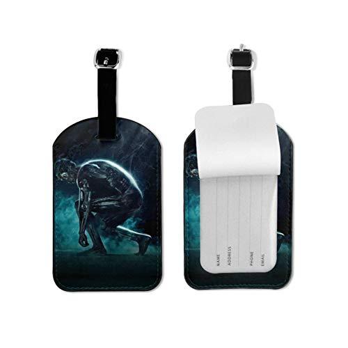 Etiqueta de equipaje Term-Inator con tarjeta de identificación de nombre colorida y segura para maleta de viaje, etiquetas de microfibra de piel sintética de 2.7 x 4.3 pulgadas