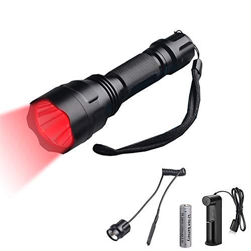 Linternas Roja para la Caza, WESLITE Linterna LED Recargable Luz Roja 1200 Lúmenes para Caza 1 Modo Linternas Táctica Roja de Largo Alcance con Interruptor de Presión y Batería Recargable
