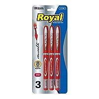BAZIC Royalレッドローラーボールペン(3/ Pack)
