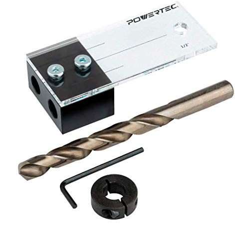 Powertec 71498 dowel drilling jig with cobalt m-35 drill bit and split ring stop collar, 1/2-inch
