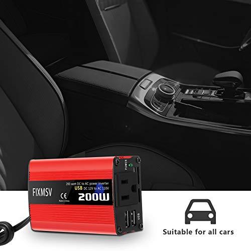 FIXMSV Car Power Inverter 200W DC 12V to AC 110V Converter Double USB Port Charger (200W) ac dc Converter