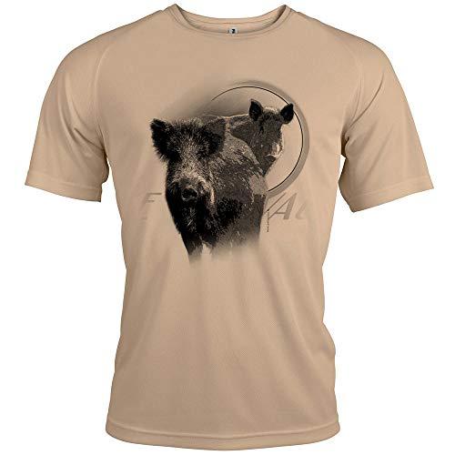 Pets-easy t Shirt Chasse - Correa, diseño con texto personalizado, Hombre, beige, medium