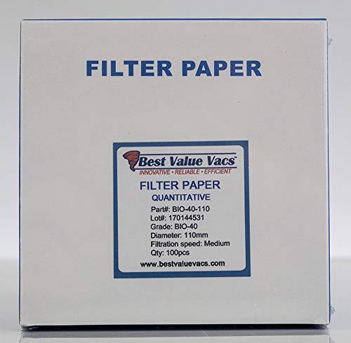 BVV Ashless Filter Papers - 110 Millimeter - Quantitative - Grade 40 - Medium - 8um