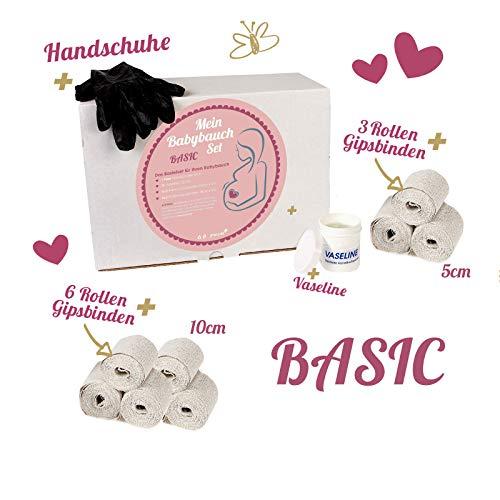 Babybauch Gips-Abdruck Set vom Schwangerschaftsbauch 3D BASIC mit 9 Gipsbinden (27 Meter), Vaseline & Handschuhen + Anleitung | Geschenkidee werdende Mütter von praxy