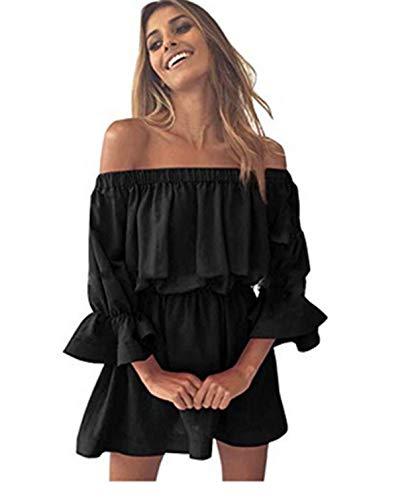 Ularma Damen Off-Shoulder Flare Sleeve Kurz Kleid Freitzeit Urlaub Sommer Kleid (XL, Schwarz)