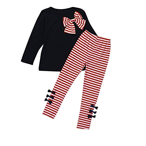 IMJONO Printemps Filles Ensemble Mode 2PCS Enfants Bébés Filles Vêtements À Manches Longues Bowknot Robe T-Shirt et Stripe Long Legging Pantalon Outfit Coton Ensemble 2-8 Ans(Marine,7-8 Ans)