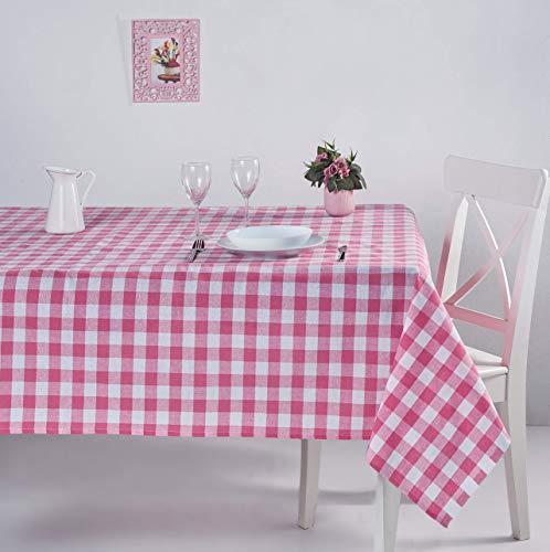ElfRoutes Mantel Cuadros Vichy - Mantel Cocina - Mantel de Tela - Mantel 0 Algodon (Rosa, 155 X 155 cm)
