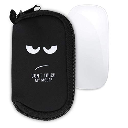 kwmobile Hülle kompatibel mit Apple Magic Mouse 1/2 - Neopren Hülle für PC Mouse Schutzhülle Don\'t Touch My Mouse Weiß Schwarz