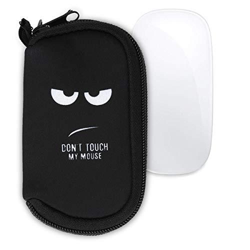 kwmobile Custodia in Neoprene con Zip per Apple Magic Mouse 1/2 - Astuccio Porta Mouse PC - Sacchetto con Cerniera - Borsa Bianco/Nero