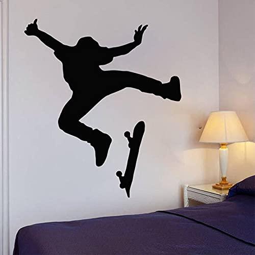 Skate Wall Art Stickers Skateboard Wall Decal Kids Room Decoración extraíble para el hogar Pegatinas de pared impermeables A3 57x65cm