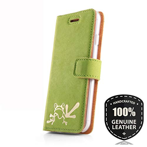 SURAZO Gold Frosch - Premium Vintage Ledertasche Schutzhülle Wallet Hülle aus Echtesleder Nubukleder Farbe Grün für Huawei P9 Lite 2017 / P8 Lite 2017
