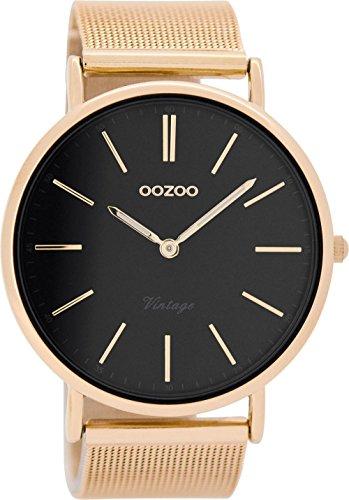 Oozoo Vintage herenhorloge plat metalen band 44 mm roze/zwart C8819