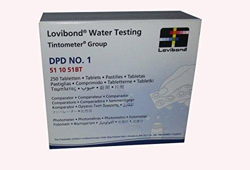 Lovibond Recambio tabletas reactivo medición Cloro Libre DPD 1 Lvd. Recarga 250 U. Fotómetro - Tintometer. 51 10 51BT
