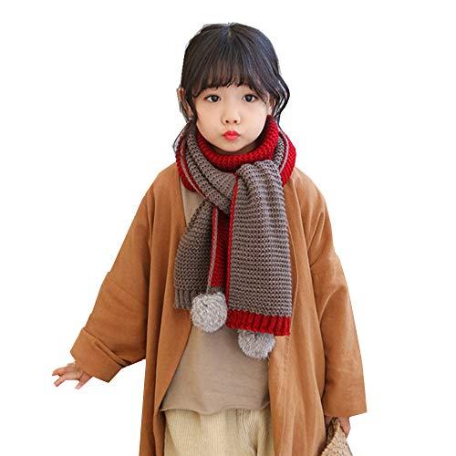 Sjaal kinderen baby wintersjaal dubbelzijdig gebreide halswarmer met pompon nekwarmer zachte lange sjaal winddicht warme halsdoeken mode loopsjaal kerstcadeau voor meisjes jongens kaki+rood