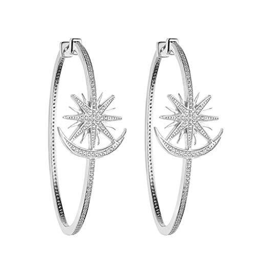 Jewelry Earrings Women's Stud Earrings 925 Silver Star Moon Ring Earrings A Pair of Hand-Set Earrings Best Gift Gift Box Ball Clip-Ons Cuffs&Wraps Drop&Dangle Hoop Stud
